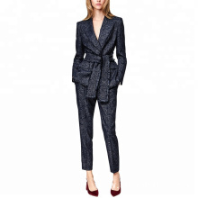 cross waistband two-piece set pant coat tassels formal blazer